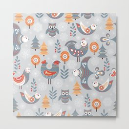Winter seamless pattern with birds, trees, snowflakes. The Scandinavian style. Folk art. Metal Print