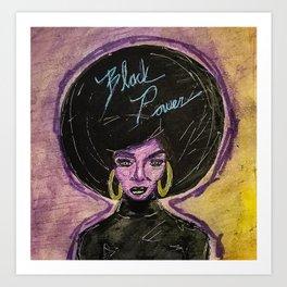 Black Power Neon Art Print