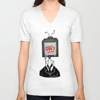 obey V-neck T-shirts featuring Obey by Caelan's Shop