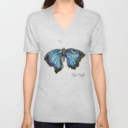Blue Morph Butterfly Unisex V-Neck
