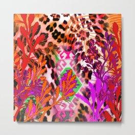 Jungle Leopard Electric Pinks Metal Print