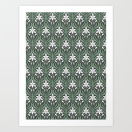 Seamless floral ornament in art Deco style. Ornithogalum umbellatum, the garden star-of-Bethlehem, grass lily, nap-at-noon, or eleven-o'clock lady. Art Print