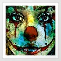 clown Art Prints featuring Clown by Joe Ganech