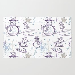 Christmas Elements Winter Snowman Sketch Pattern Rug