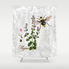 Cottage Style Thyme, Bumble Bee, Hummingbird, Herbal Botanical Illustration Shower Curtain