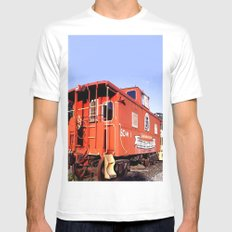 Lil Red Caboose -Wellsboro Ave Hurley ArtRave White MEDIUM Mens Fitted Tee