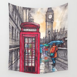 Rainy day in London ink & watercolor illustration Wall Tapestry