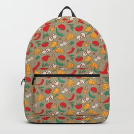 What's for dinner? (pattern on grey-green background) Backpack