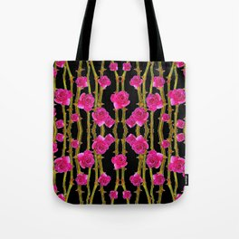 "FUCHSIA PINK ""ROSES & THORNS""  BLACK ART PATTERNS Tote Bag"