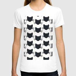 black and white kitteh cat outline T-shirt