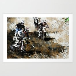 """Dare to Race"" Motocross Dirt-Bike Racers Art Print"