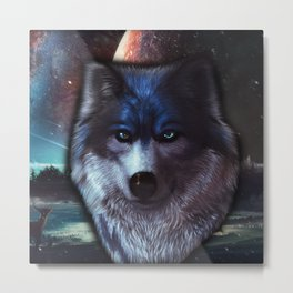 Wolf face in space,Blue wolf painting Metal Print