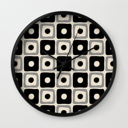 Mid Century Modern Square Dot Pattern 771 Black and Gray Wall Clock