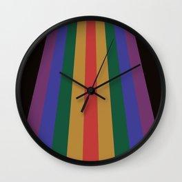 Retro Rainbow Dark 70's Stripes Wall Clock
