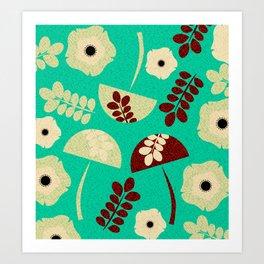 Mushrooms and flowers canvas Art Print