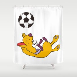 Dog playing with ball Shower Curtain