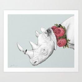 White Rhino with Proteas Art Print