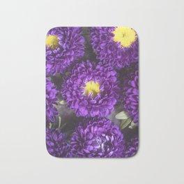 Bright Purple and Yellow Mum Flowers Bath Mat