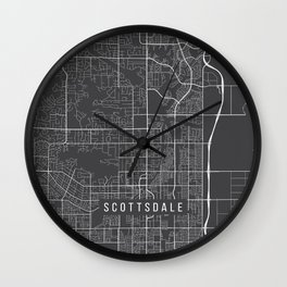 Scottsdale Map, USA - Gray Wall Clock