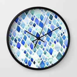 Watercolor Diamond Abstract Pattern Wall Clock
