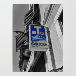 Blue Sign in Venice Black and White Photography Poster