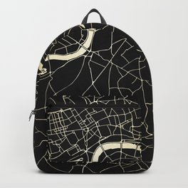 London Black on Gold Street Map Backpack