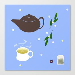Teatime on Blue Canvas Print