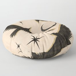 Black birds flying with the Moon Floor Pillow