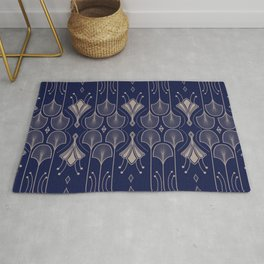 Lily Lake - Retro Floral Pattern Navy Blue Rug
