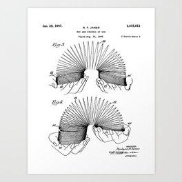 Slinky Patent - Slinky Toy Art - Black And White Art Print