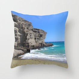 Olivine Sand and Turquoise Waters Throw Pillow
