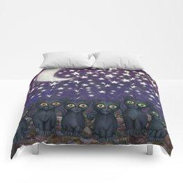 black cats, stars, & moon Comforters