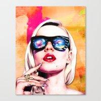 iggy azalea Canvas Prints featuring Iggy Azalea- Orange/Pink by Tiffany Taimoorazy