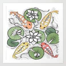 Koi Pond Gathering Art Print