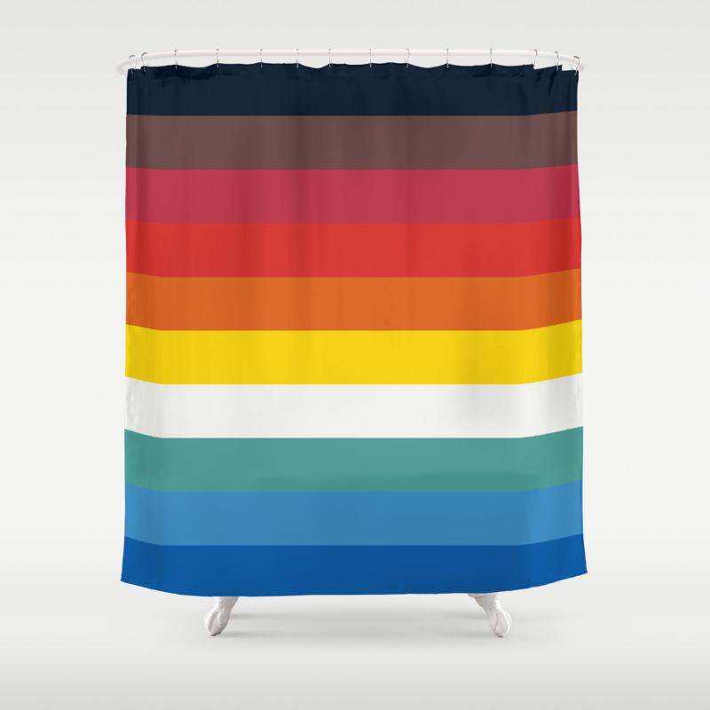 Multicolor Retro Stripes Trickster Shower Curtain