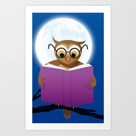 Reading Owl Art Print