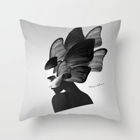 no face Throw Pillows featuring  face  by mark ashkenazi