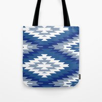 kilim Tote Bags featuring Kilim Rug Blue by suzyoconnor