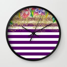 Bold Purple Stripes Gold Dust Floral Wall Clock