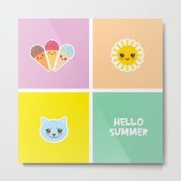 Hello Summer bright tropical card design, ice cream, sun, cat. Kawaii cute face. Metal Print