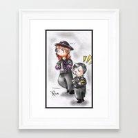 wwe Framed Art Prints featuring WWE Chibi - Undertaker and Paul Bearer by Furiarossa