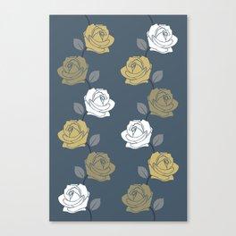 Rose Vine Pattern Blues Golds White Canvas Print