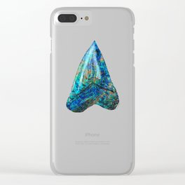 Blue Shark Tooth Art by Sharon Cummings Clear iPhone Case