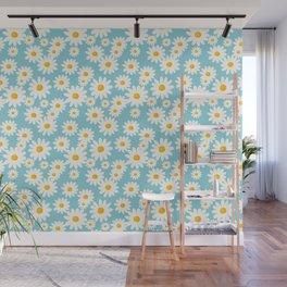 White Daisies Heaven Blue Wall Mural