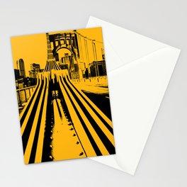 Pittsburgh City Skyline Bridge Pop Art Black Gold Print Stationery Cards