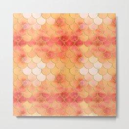 Apricot & Gold Mermaid Scale Pattern Metal Print