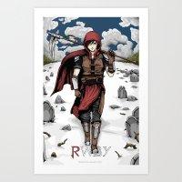 roosterteeth Art Prints featuring Medieval Huntress Ruby Rose by OreadArt