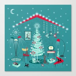 Retro Holiday Decorating ii Canvas Print