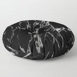Black magic marble Floor Pillow