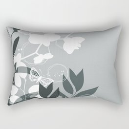 PPG Night Watch Pewter Green Botanicals and Butterflies Graphic Design Rectangular Pillow